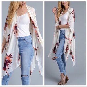 Tops - Off White Floral Kimono